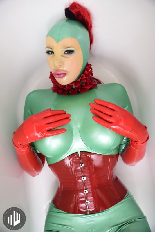 Latex Elbow Gloves Red