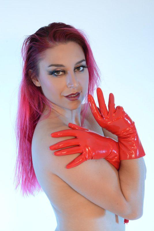 Short latex gloves Red